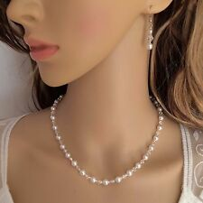 PEARL AND CRYSTAL BRIDAL NECKLACE HANDMADE DESIGNER BACKDROP JEWELRY JEWELLERY