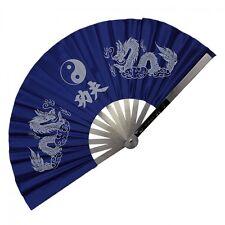 New HEAVY DUTY Kung Fu Fan Stainless Steel TAI CHI Fan DRAGON Martial Arts-BLUE