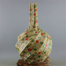 Chinese Old Marked Famille Rose Flower Vine Whorl Porcelain Celestial Bottle