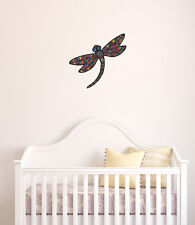 "CLR:FLAT - Patterned Dragonfly - Vinyl Wall Decal ©YYDC (9.5""w x 9""h)(Colors)"
