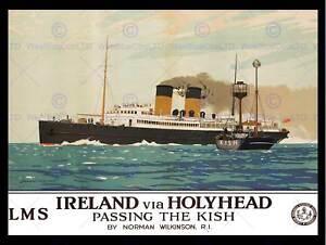 IRISH SEA FERRY KISH BOAT SHIP HOLYHEAD IRELAND NEW ART PRINT POSTER CC4512