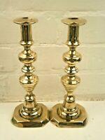 """Pair of Antique Georgian 10"""" (25 cm) Brass Candlesticks"""