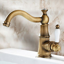 Traditional Antique Brass Bathroom Sink Mixer Tap Swivel Spout Basin Faucet NEW