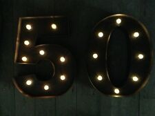LED CARNIVAL 50 BIRTHDAY ANNIVERSARY CELEBRATION NUMBERS  METAL LARGE 33 CM.