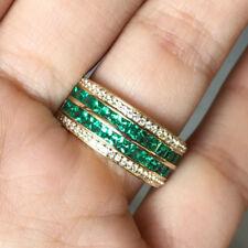 10k Yellow Gold Princess Emerald Sapphire Anniversary Ring Wedding Band