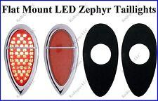 Flat Mount 1938-1939 Ford 51 LED Red Taillights Zephyr Bezels Hot Rod F3951Z