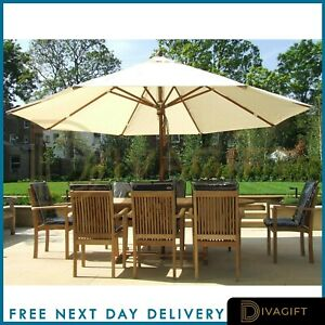 Garden Parasol 3m Patio Umbrella Market Table Umbrella w/ Tilt & Crank Handle