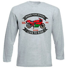 DUCATI 900 MIKE HAILWOOD - GREY LONG SLEEVED TSHIRT- ALL SIZES IN STOCK