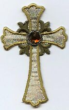 Iron On Embroidered Applique Patch Silver and Gold Religious Cross with Jewel