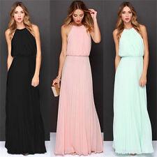 Women Chiffon Solid Long Maxi Dress Prom Bridesmaid Wedding Formal Evening Party