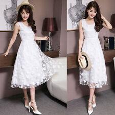 Summer Korean Women Lace Evening Party Cocktail Slim Tunic Long Dress Sundress