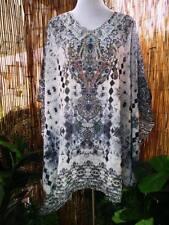 Loose Fitting Sheer Embellished Kaftan Digital Print Size 16-18-20-22
