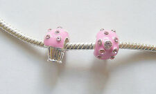 2 Silver Plated Enamel Pink Cupcake Charm Beads for Charm Bracelets