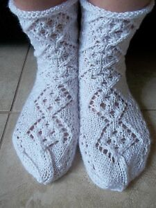 Hand knitted lace pattern socks, white