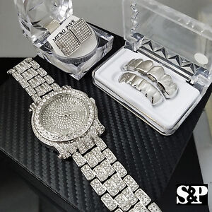 Men Luxury Hip Hop Iced White Gold PT Watch & Earrings & Grillz Combo Set