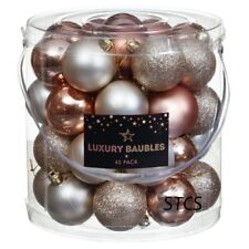 40 Pack Luxury Baubles Glitter - Rose Gold & Pink - CHRISTMAS TREE HANGING DECOR