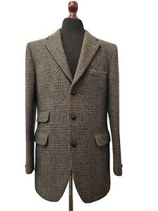 Vintage 1970's Green Checked Harris Tweed Jacket Blazer 40 Long