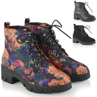 Womens Lace Up Ankle Boots Ladies Combat Platform Biker Cleated Sole Shoes Size