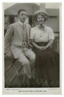 Antique RPPC postcard Miss Phyllis Dare & Brother Jack actress stage theatre