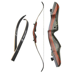 """62"""" Archery Recurve Bow American Hunting Bow Longbow Takedown Wooden 20-50lbs"""