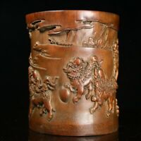 Chinese old Hand-carved Kylin qi lin lucky statue bamboo Brush pot pencil vase