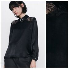 ZARA BLACK CONTRASTING SATIN  BLOUSE WITH GEM BUTTON BROACH LONG SLEEVE SIZE  XS