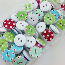 50pcs 15mm Dots Wood Buttons Sewing Kid's Craft Mix Lot Scrapbooking WB18