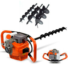 Petrol Earth Auger Fence Post Hole Borer Ground Drill 3 Bits 71cc Extension