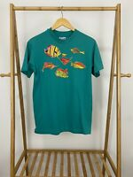 VTG Hanes 80s Bold Teal Embroidered Fish Single Stitch T-Shirt Size M USA