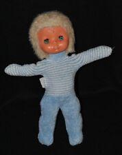 Peluche Doudou Poupée Doll Puppe Bleu BOULGOM Vintage Ancien 30 Cm TBE