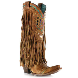 Corral Ladies Brown & Multicolor Crystal Fringe Snip Toe Boots C2910