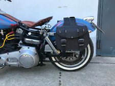 INDIAN BLACK koffer Set Leder schwarz Gepäcktaschen Motorrad Rocker Biker Moped