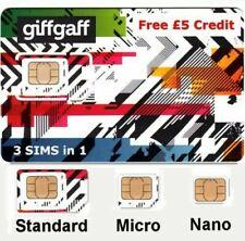 2x GiffGaff 3in1 * Standard, Micro, Nano SIM * Free £5 Credit Free UK Postage !