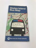 Vintage 1977 Staten Island Bus Map New York City Transit Authority