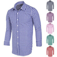 Luxury Shirts Mens Casual Stylish Plaid Slim Fit Long Sleeve Shirts Dress Shirts