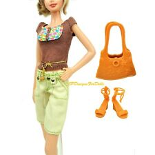 Barbie Fashion Fever Outfit Cropped Trousers Purse Shoes New NO DOLL