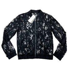 Fair Child Size XS Women Long Sleeve Sheer Lace Bomber Jacket Black