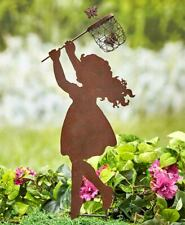 Little Girl Chasing Butterfly Nostalgic Metal Shadow Silhouette Garden Stake