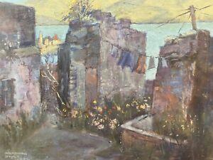 BARBARA DOYLE (B.1917) MODERN BRITISH OIL PAINTING - BLUE BACKSTREET LANDSCAPE