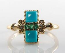 UNUSUAL COMBO 9CT 9K GOLD PERSIAN TURQUOISE & COLOMBIAN EMERALD RING