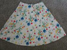 Vintage 1970's White Cotton A-Line Skirt Primary Bright Colored Floral Print M L