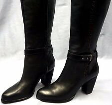 New $300 UGG Womens Claudine Black Whipstitch Leather Boots 1005663 US Size 6