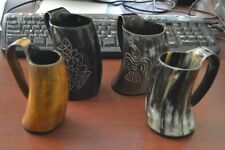 4 Pcs Assort Buffalo Horn Game Of Throne Medieval Drinking Ale Cup Mug 5""