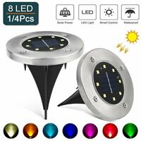 4Pack 8 LED Solar Lights Color-Changing Ground Buried Garden Lawn Deck Outdoor
