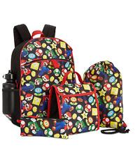"Nintendo Super Mario Bros 16"" Large School Backpack Lunch Kit 5pc Set"