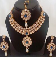 Indian Traditional Kundan Blue color Set Necklace and Earring Gold Plated