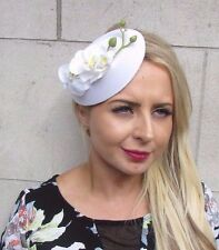 White Orchid Flower Pillbox Hat Fascinator Races Rockabilly 1950s Vintage 3089