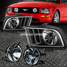 BLACK HOUSING CLEAR LENS HEADLIGHTS+SMOKED OE FOG LIGHT FOR 05-09 FORD MUSTANG