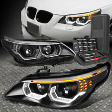 FOR 04-07 BMW E60 5-SERIES 3D U-HALO LED HID PROJECTOR HEADLIGHTS+TOOL SET BLACK