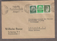 Germany WWII cover Leipzig Postrelsescheck slogan cancel to Reichsmessestadt